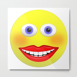 Smiley Female With Big Smiling Mouth Metal Print