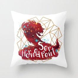 Horned Serpent Throw Pillow