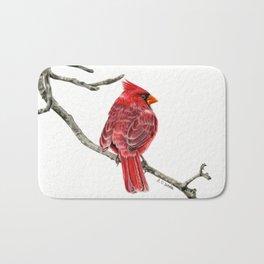 Winter Cardinal On White Bath Mat