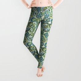 Blue and Green Paisley Leggings