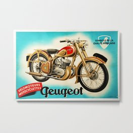 1951 Vintage Geugeot Velomoteurs Motorcycle French Advertisement Poster Metal Print