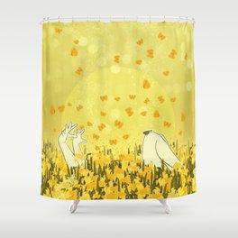Yellow Effervescence Shower Curtain