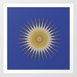 Bright Blue Gold Star Mandala Art Print
