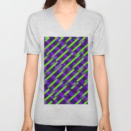 geometric pixel square pattern abstract background in purple green Unisex V-Neck