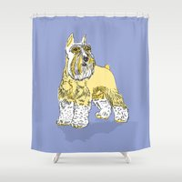 schnauzer Shower Curtains featuring Schnauzer lavender by biene2001