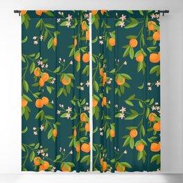 Citrus Tree - Navy Blackout Curtain