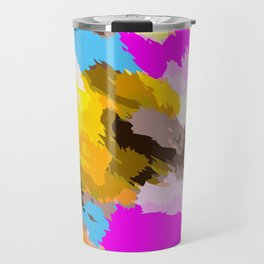orange black yellow pink and blue painting abstract background Travel Mug
