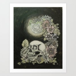 Skull and Moon Art Print