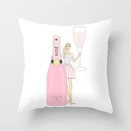 Rose Champagne Fashion Girl Blonde Throw Pillow