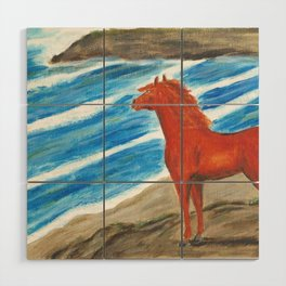 The Red Stallion Wood Wall Art