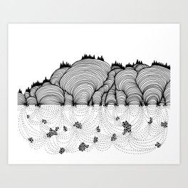 Beneath the Hills Art Print