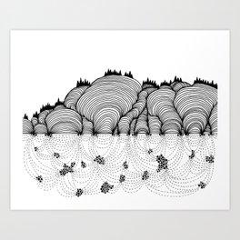 Beneath the Hills Art Print