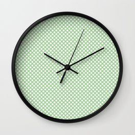 Pistachio Green and White Polka Dots Wall Clock