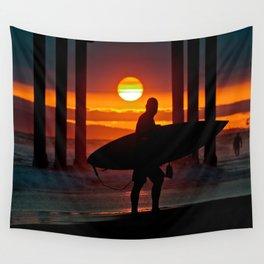 Huntington Beach Pier / Surfer Sunset Wall Tapestry
