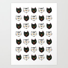 smiling cats black and white minimal design Art Print