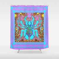 insects Shower Curtains featuring Blue & Lavender Scarab Beetle Insects Nature Art Designs by SharlesArt