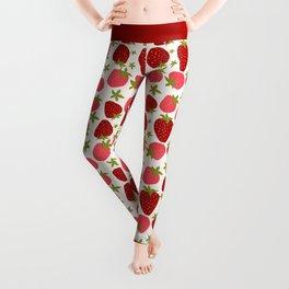 Modern Strawberry Summer Fruit Leggings