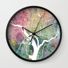 Washington DC Map Watercolor by Zouzounio Art Wall Clock