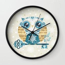 Winter Wonderland Owl Wall Clock