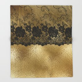 Black luxury lace on gold glitter effect metal- Elegant design Throw Blanket
