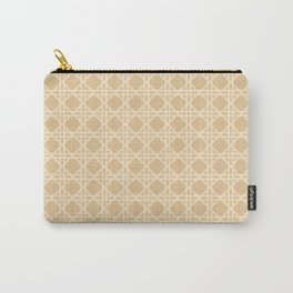 Cane Rattan Lattice in Neutral Natural Carry-All Pouch