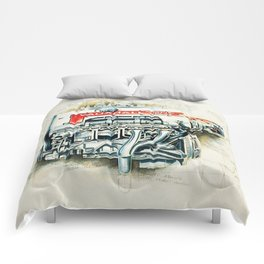 RETRO CUTAWAY ENGINE - ORIGINAL ARTWORK Comforters