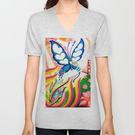 """SF Butterfly"" by Adam France Unisex V-Neck"