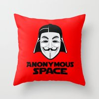 anonymous Throw Pillows featuring Anonymous by Tony Vazquez