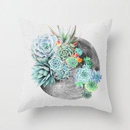 Moon, Plant, Succulent, Space, Collage, Modern, Minimal Art Print Throw Pillow