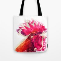 rooster Tote Bags featuring Rooster by jbjart