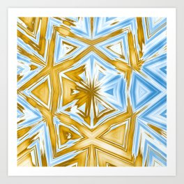 Bold abstract kaleidoscope in blue and beige Art Print