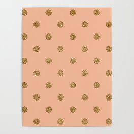 Burly Wood2 Gold Glitter Dot Pattern Poster