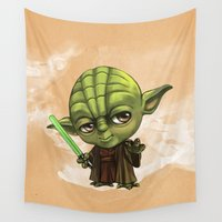 yoda Wall Tapestries featuring Yoda by Leoren