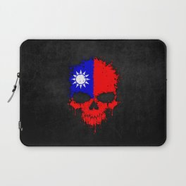 Flag of Taiwan on a Chaotic Splatter Skull Laptop Sleeve