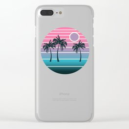 Dude! - retro 70s throwback minimal sunset beach tropical palm trees 1970's minimalism decor socal Clear iPhone Case