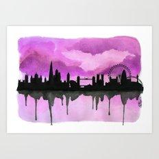 Aubergine London Skyline 2 Art Print