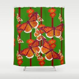 GREEN  DECORATED MONARCHS & POPPY FLOWERS ART Shower Curtain