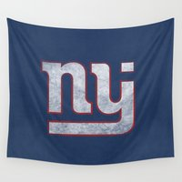 new jersey Wall Tapestries featuring New Jersey Football Giants by CS_Kennedy