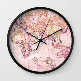 Vintage Map Pattern Wall Clock