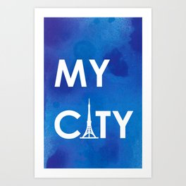 MyCity-Tokyo-BlueA Art Print