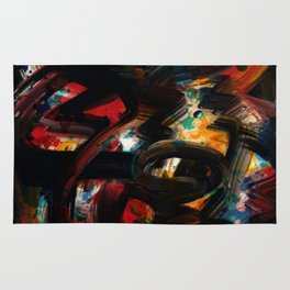 Back to Black Abstract Art Expressionism Rug
