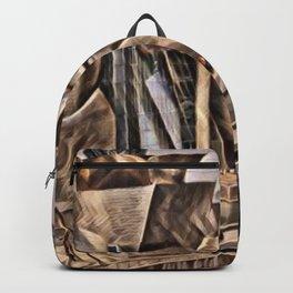 Spain Bilbao Guggenheim Museum Artistic Illustration Dry Leaf Style Backpack