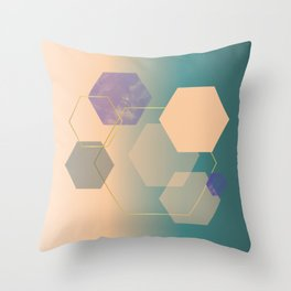 Blue skin color gradient with gold and purple watercolor hexagons Throw Pillow
