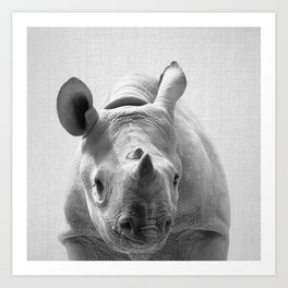 Baby Rhino - Black & White Art Print