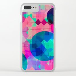 geometric square pixel and circle pattern abstract in pink blue green Clear iPhone Case