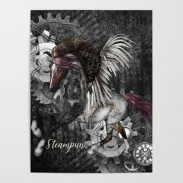 Wonderful steampunk horse with wings Poster
