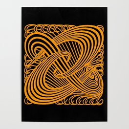 Art Nouveau Swirls in Orange and Black Poster