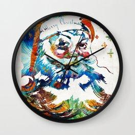 Colorful Santa Art by Sharon Cummings Wall Clock