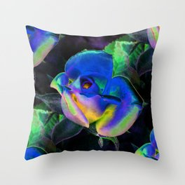Blue Colorful Rose Throw Pillow