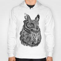 owl Hoodies featuring Owl by Feline Zegers